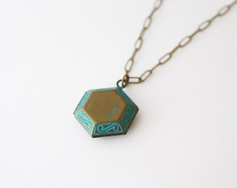 patina hexagon locket  necklace / geometry jewelry // Long locket necklace
