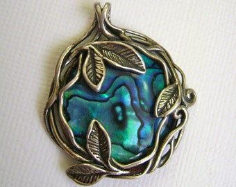 vintage paua shell pendant, sterling