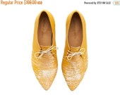 WINTER SALE New! Lara shoes, Yellow Corn , handmade, Hand Printed, flats, leather shoes, by Tamar Shalem on etsy