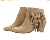 BOOTS SALE Sasha high heel Boots, handmade, stone grey, fringe boots, heels, leather shoes, by Tamar Shalem on etsy