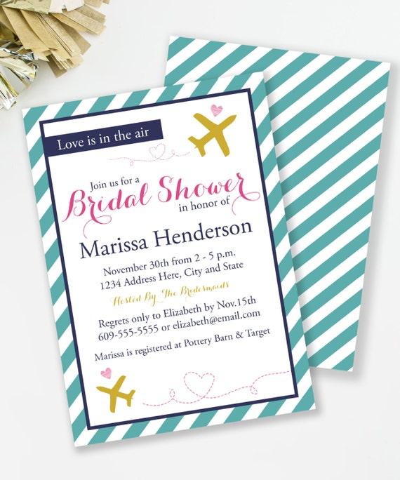 travel bridal shower invitation, travel theme shower, printable, Bridal shower invitations