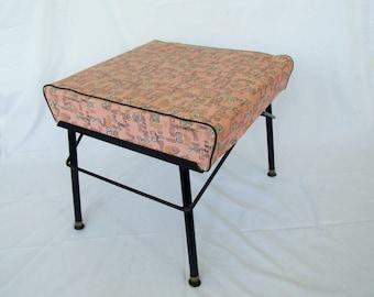 Mid Century Footstool vintage pink foot stool 1950s Mod furniture ottoman