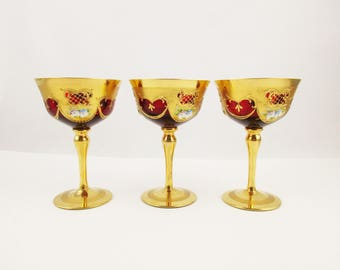 Early 1900s Bohemian Glass - Gold Gilt Outside - Ruby Red Inside - Three Champagne Saucers - Porcelain Flowers - Art Nouveau - Set of Three