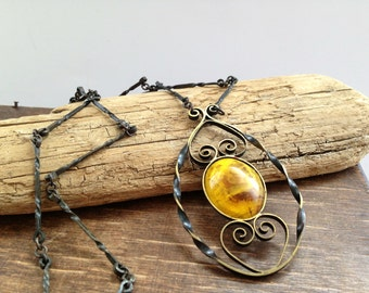Vintage genuine amber necklace Baltic Amber necklace Soviet vintage jewelry Womens amber accessories