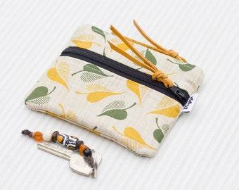 Woman Zipper Wallet Boho, Double Zippered Coin Purse, Leafs Pouch