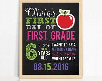 Personalized First Day of School Printable Chalkboard Sign - Apple First Day of School Photo Prop - Girl First Day of School Sign