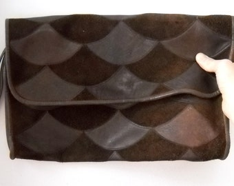 Vintage Brown leather and suede clutch
