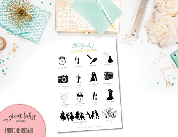 Wedding Timeline Wedding Day Agenda With Icons Bridal Party