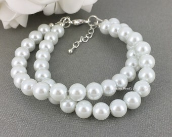 White Double Strand Bracelet Bridesmaids Budget Jewelry Twisted Bracelet Pearl Bracelet Bridesmaid Gift for Her Bridal Jewelry Wedding