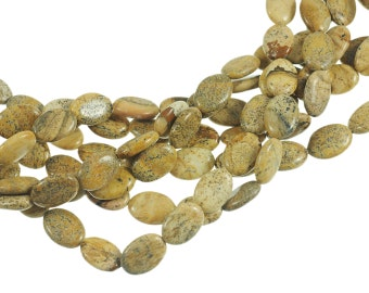 """Picture Jasper 10x15mm Flat Oval Gemstone Beads - Full 16"""" Strand - About 28 Beads - Natural Stone"""