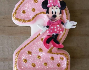 Pink and Gold Minnie Mouse Birthday Candle