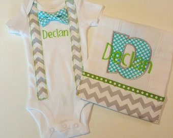 Personalized Onesie and burp cloth set