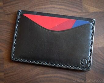 Three Pocket Flat Wallet, front pocket wallet, accessories for men, business card holder, bridle leather wallet - black
