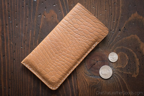 "iPhone 7 & 6 (4.7"") Horween Chromexcel leather sleeve case - tan croc print"