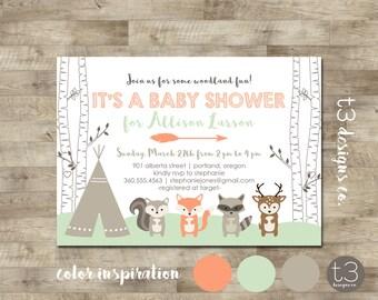 Woodland Forest Friends BABY SHOWER Invitation, baby shower invite, animals, deer, neutral, woodland animals,teepee invite, birch trees