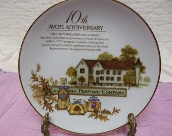 Vintage Avon California Perfume Company ca 1989 Decorative Plate, 22kt Gold Trim 10th Anniversary, S