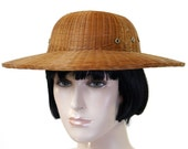 Vintage 1950s Chinese Bamboo Sun Hat / Safari Hat / British Pith Helmet / Tight Weave / Summer Hat / Garden Hat