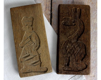Wooden Dutch Cookie Molds, German Wood Molds, Vintage Kitchen, Wood Folk Art, Springerle, Speculass, Speculoos Mold, Christmas Cookie Mold
