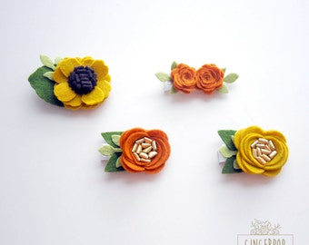 Fall Felt Clips - Choose Your Fave Fall Clip - Felt flower Alligator Clip - Baby, Toddler, Girl Alligator Clip and Fall Autumn Photo Prop