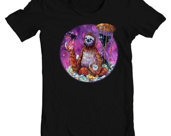 "Sloth Art T-Shirt - Surreal Art T-Shirt - Wearable Art - Black Tee - ""Time Master Poop Sloth"" design by Black Ink Art"