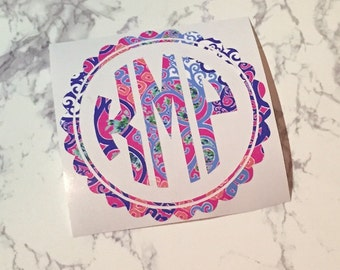 lilly inspired monogram decal