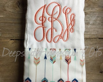 Embroidered, monogrammed  burp Cloth, arrow fabric trimmed, arrows, you choose thread  colors
