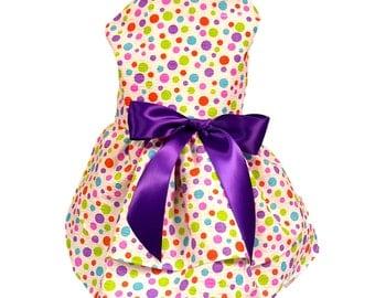 Dog Dress, Dog Clothing, Pet Clothing, Multi Colored Polka Dot Dog Dress