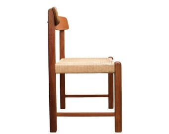 Mid Century Danish Side Chair - Teak Chair with Cord Seat - Style of Borge Mogensen