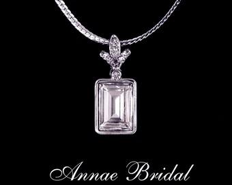 "Art Deco bridal necklace, Bridal, wedding, Swarovski, clear crystal, silver, rectangular, ""Napoli"" necklace"