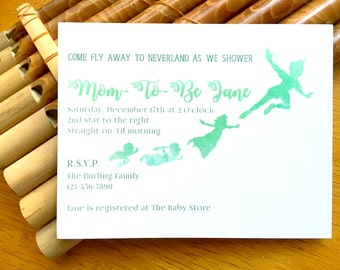 Peter Pan Neverland Baby Shower Invitation - Print Your Own - Front & Back - Digital File