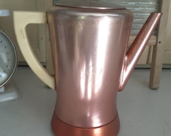 Vintage Mid Century Art Deco Retro West Bend Electric Coffee Pot Aluminum Copper