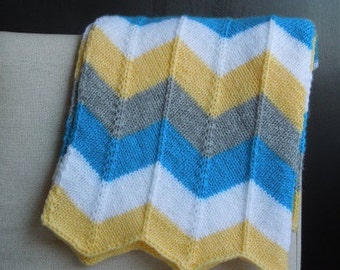 Knit Chevron Baby Blanket in Yellow, Gray, Teal and White