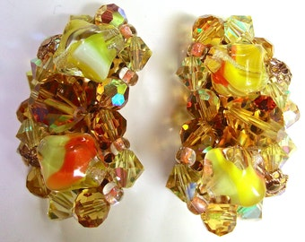 Multi Color Givre AB Rhinestone Earrings, Orange Yellow, Gold Tone, Vintage