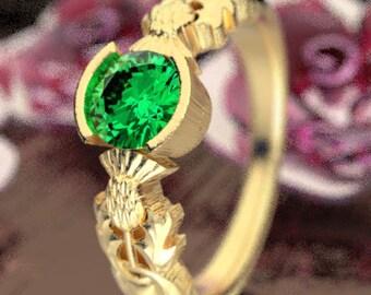 Thistle Engagement Ring, 10K 14K or 18K Gold & Emerald, Scottish Solitare, Floral Wedding, Handcrafted Rings, Platinum or Palladium 5062