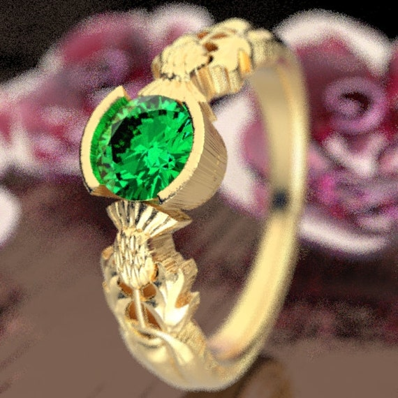 Thistle Engagement Ring, 10K 14K or 18K Gold & Emerald, Scottish Solitare, Floral Wedding, Handcrafted Rings, Platinum or Palladium 5062
