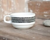 """Hand-painted vintage cup """"somewhat angular"""", black and white"""