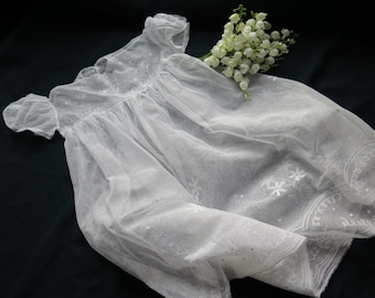 Fabulous Antique French Christening Gown Embroidered Tulle-White Victorian-Baby Vintage Dress White Embroidered from France