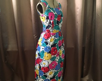 Vintage 1980s Bright White Multi Pink Blue Green Abstract Floral Print Lanz Square Neck Tea Party Pocket Sun Dress