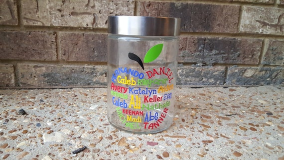 Custom Personalized Apple Candy Jar for Teacher