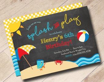 Beach Birthday Party Invitation - Fun in the Sun, Splash and Play, Summer Birthday Party