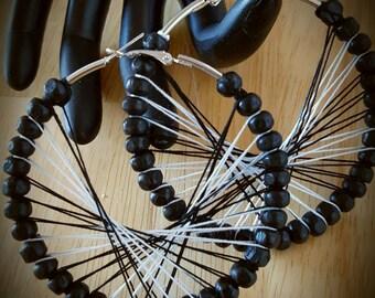 Black and White Beaded Peruvian Thread Hoop Earrings