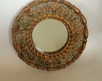 SALE! Round Wall Mirror Ornate Gold Framed Mirrors Carved Rustic Chic Mirror Vintage Round Mirror Gold & Verde Entry Mirror Vanity Mirrors