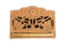 Art Nouveau Sunflower Brass Stamp Holder, Brass Stamp Box, Postage Stamp Holder, Hollywood Regency Stamp Box, Sunflower Box Brass with Lid