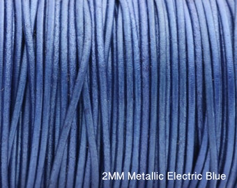 """2MM Round Metallic Electric Blue Leather Cord - European Leather Cord - 1M/39.4"""""""