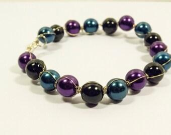 Wired Beaded Violet Dark Blue Black Beads Bracelet - Dark Days Bracelet