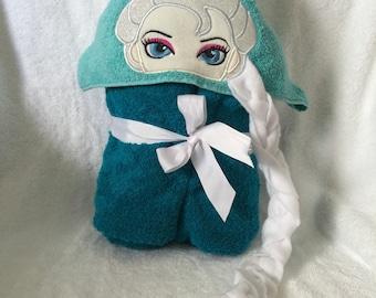 PRINCESS TOWEL, Bath Towel, Ice Princess Towel, Bath Towel, Hooded Kids Towel