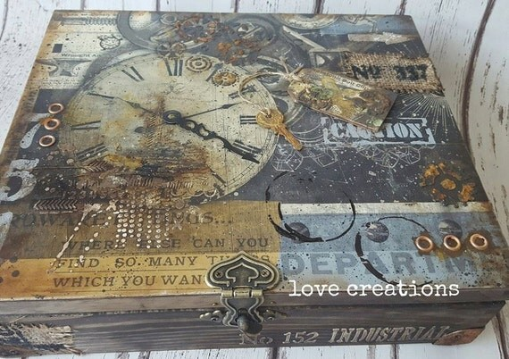 Industrial, wooden treasure, keepsake, memory, storage box, vintage style,detailed,rust effect, masculine, handcrafted gift, only one made