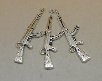 10pcs Large Antique Silver AK47 Gun Charms Pendant - 46x12mm Antique Silver AK47 Gun Charms Pendant