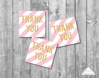 Pink and Gold Thank you Tags, Gold Glitter Favor Tags, Printable Favor Tags, Printable PDF, Blush Pink Striped tags, gold gift tags