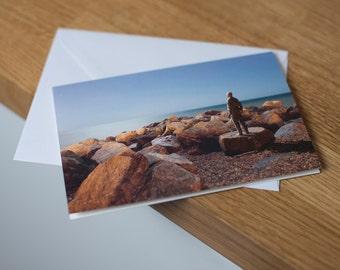 Sleepwalking - a moonlit, long exposure seascape. Fine art photography greetings card. Blank inside.